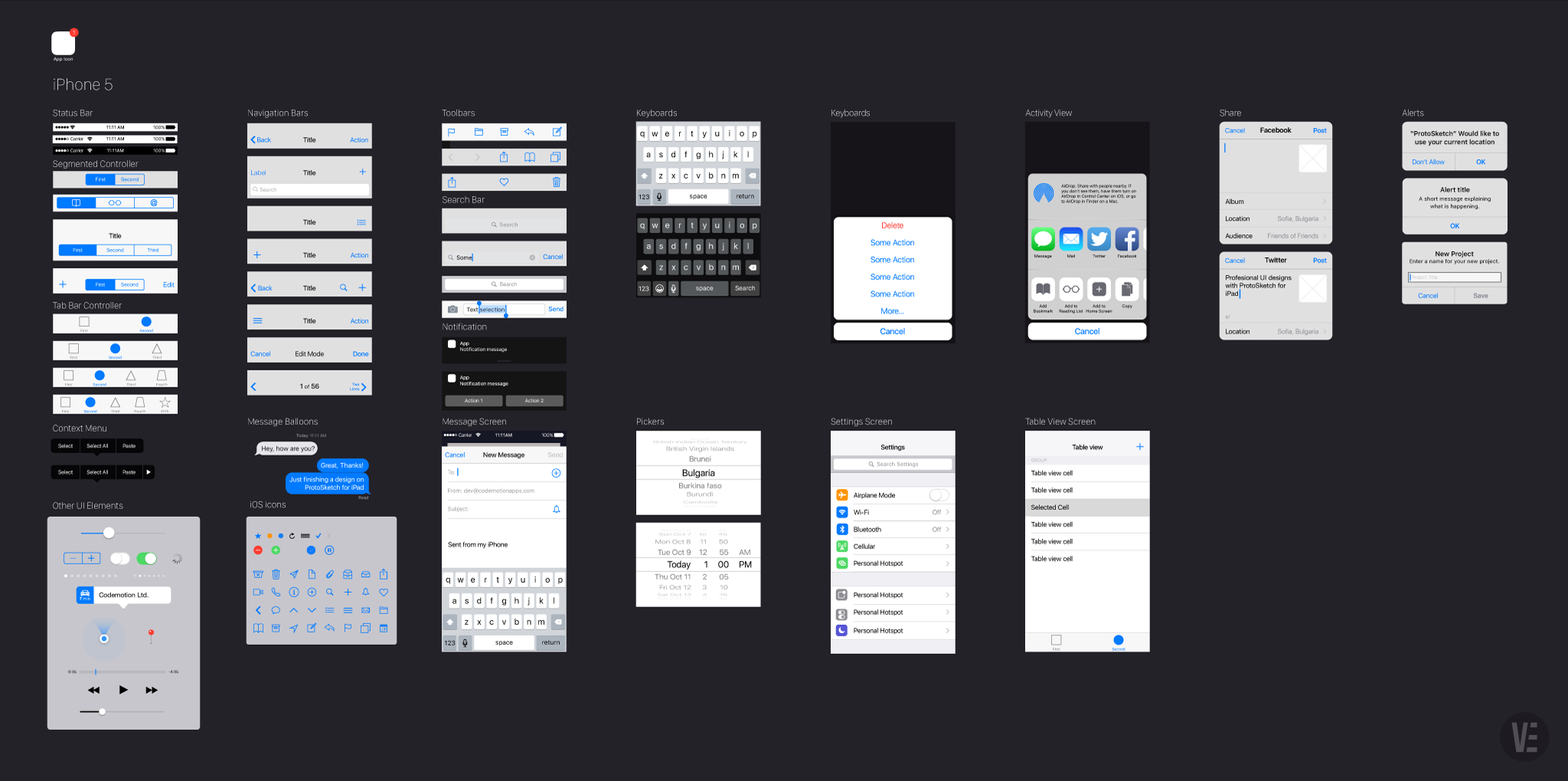 free vector ios9 gui template for illustrator protosketch